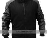 Men fabric with leather sleeves bomber jacket l thumb155 crop