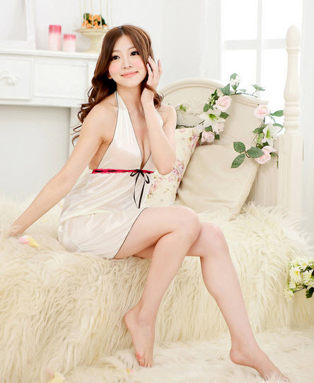 SL169-9084 sexy satin neck halterr dress, with g-string, free size, fit to S/M/L image 5