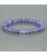 Tanzanite Stretch Bracelet. Smooth Round Beaded Gemstone Elastic Bracele... - $32.99