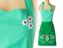 Anthropologie Julep Apron Green Petal Embroidered Hostess Wedding Mother... - £40.28 GBP