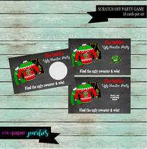 Holiday Christmas Ugly Sweater Party Scratch Off Tickets Cards Favor Fav... - $4.00