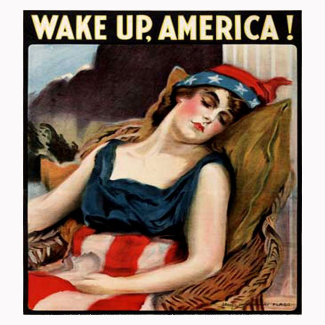 Primary image for Wake-Up-America Men's Women's Unique Custom Printed White T-Shirt