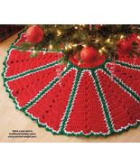 Y912 Crochet PATTERN ONLY Traditional Holiday Color Christmas Tree Skirt Pattern - $7.45