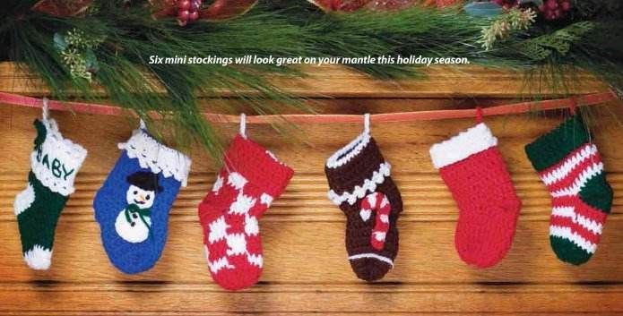 Primary image for Y921 Crochet PATTERN ONLY Set of 6 Mini Christmas Stocking Patterns