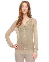 MICHAEL KORS Gold/Natural Metallic Mesh Lightweight Sweater Top (LARGE) ... - $50.49