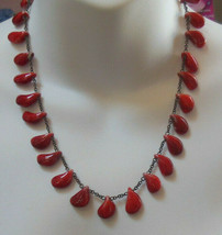 Vintage Red Glass/Ceramic Bead Dangling Charm Chain Necklace  - $36.62