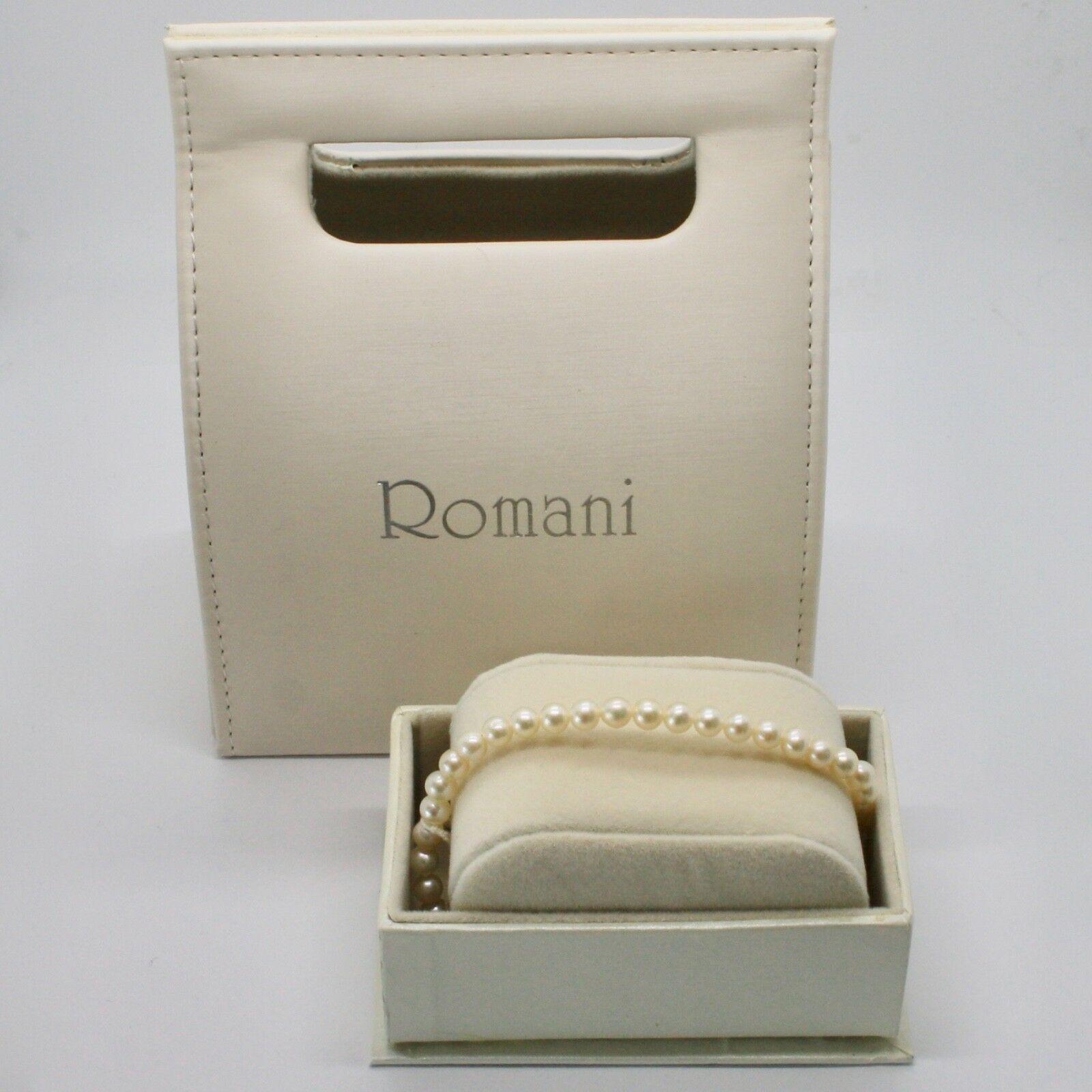 Bracelet en or Blanc 18KT et Argent 925 avec Perles 5.5 6 mm Beau Boîte