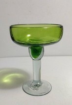 "Hand Blown Glass Mexican 6"" Margarita Glass Goblet Green Bowl w/Clear Stem - $5.93"
