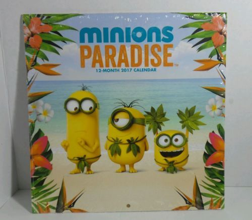 Minions 12 month calendar with Minions paradise pictures Year of 2017