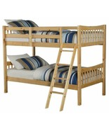 Natural Pine Finish Wooden Twin Over Twin Bunk Beds Kids Convertible Fur... - $299.87