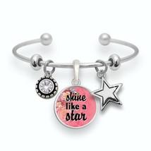 Shine Like a Star Silver Pink Cuff Bracelet Philippians 2:15 Scripture Jewelry - $13.80