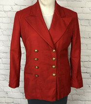 VTG Ralph Lauren Jacket Double Breasted Blazer Red Wool USA Union Made S... - $69.30