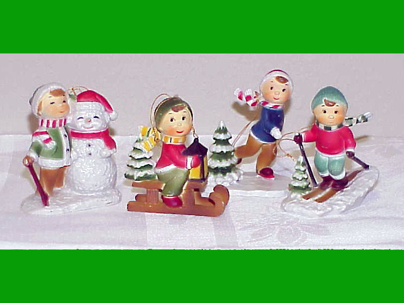 Primary image for CHILDREN PLAYING IN THE SNOW - 4 Vntg Christmas Ornaments - Village People