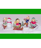CHILDREN PLAYING IN THE SNOW - 4 Vntg Christmas Ornaments - Village People - $12.99