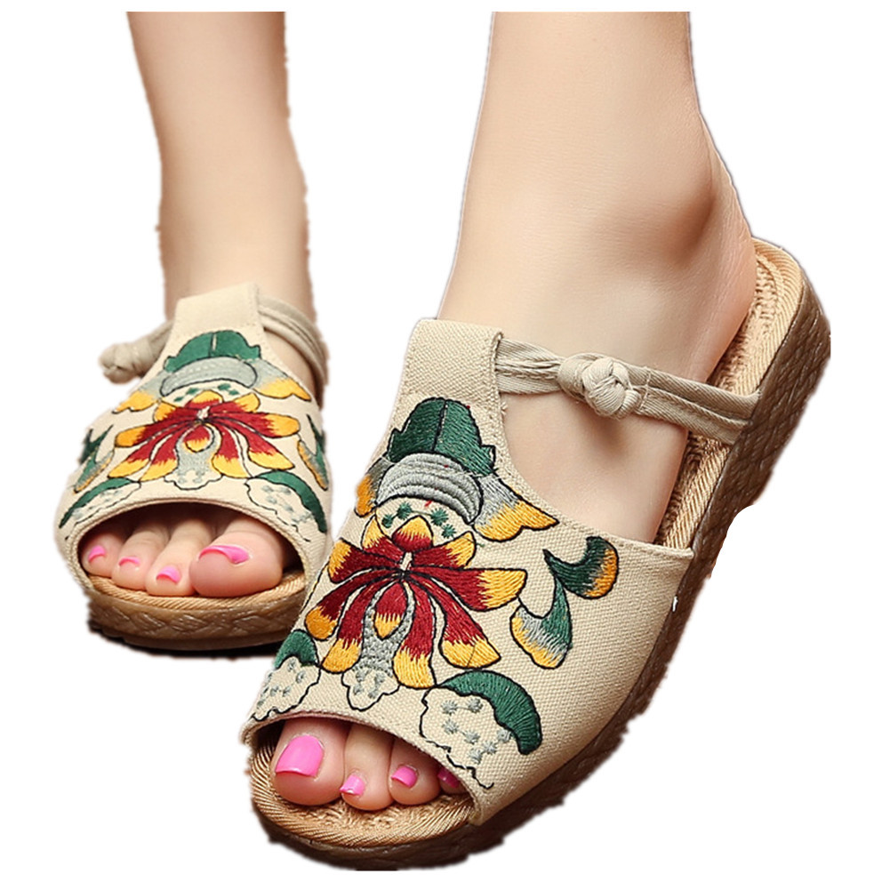Primary image for Chinese Cotton and linen national wind Embroidy Shoes embroidered Slippers beige