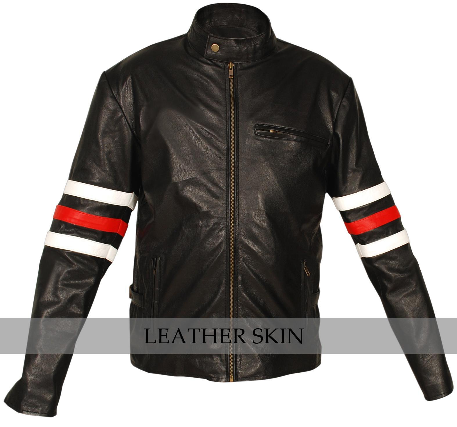 Stylish Premium Black Leather Jacket w/ White Red sleeve rings & side pockets