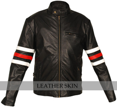 Stylish Premium Black Leather Jacket w/ White Red sleeve rings & side pockets image 1