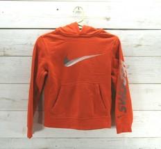 Nike Swoosh Pullover Kids Size Small Boys Youth Jacket Orange - $15.81