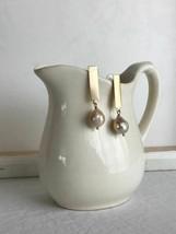 pearl stick earrings - brushed brass - $53.46