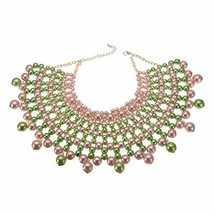 Bib Collar Necklace Chunky CCB/Crystal/Pearl Resin Beads Chain (Green+Pink) - $29.36