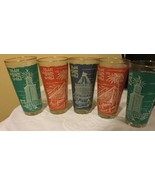 Vintage Set of 5 Seven Wonders of the world Tumbler Glasses 6 inches tall - $37.40