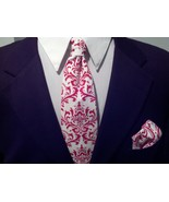Men's Damask Tie and Pocket Square Hanky Set- Red and White  - $27.95
