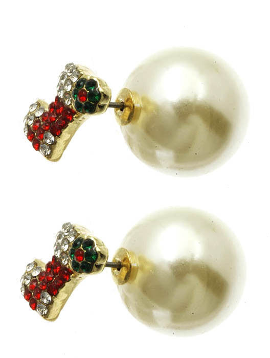 Bling Crystals Christmas Stocking Double Sided Ball Earrings Cream
