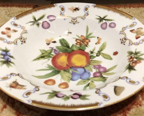 "I.GODINGER & CO. Yorkshire Pattern Soup Bowl 8.5""  Fruit Butterfly Bee Gold image 2"