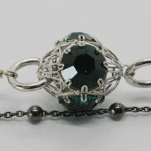 925 STERLING SILVER DOUBLE BRACELET WITH GREEN WORKED LANTERN, BURNISHED CHAIN image 3