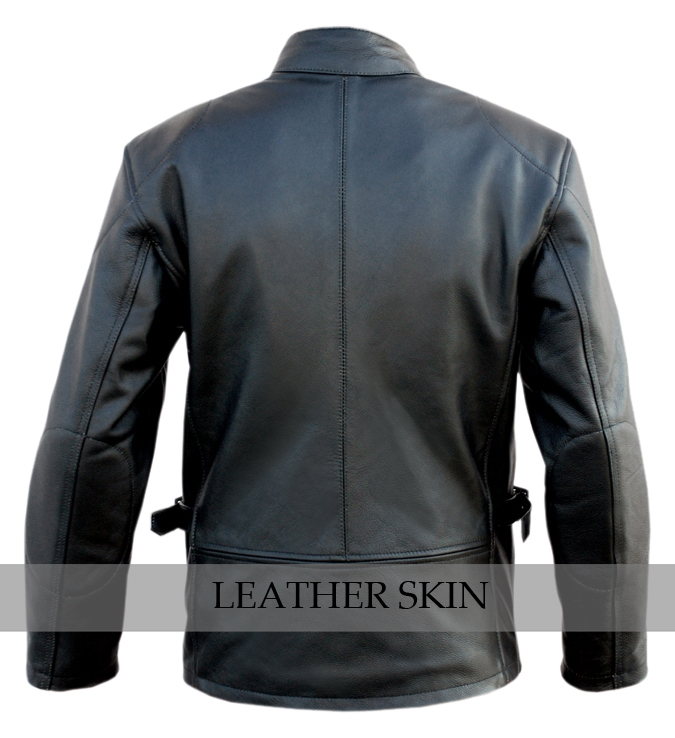 Black Fashion Stylish Sexy Premium Genuine Leather Jacket w Front & Side Pockets image 3