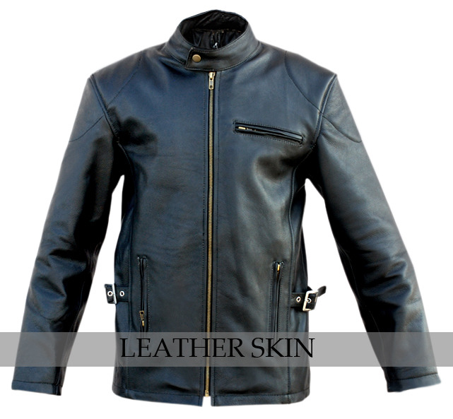 Black Fashion Stylish Sexy Premium Genuine Leather Jacket w Front & Side Pockets