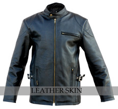 Black Fashion Stylish Sexy Premium Genuine Leather Jacket w Front & Side Pockets image 1