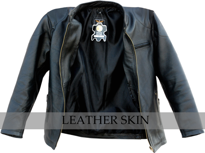 Black Fashion Stylish Sexy Premium Genuine Leather Jacket w Front & Side Pockets image 2