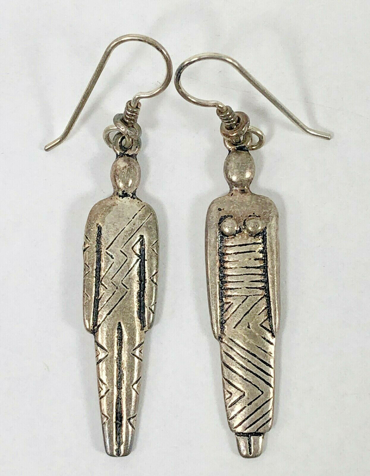 Primary image for Vintage African Woman Man Earrings Pewter Ethnic Couple