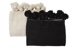 Black Moroccan Pom Pom Blanket Wool Xlarge King Bed Size - $197.01