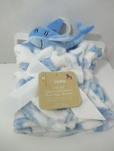 Baby Starters baby blanket security lovey set new white blue sharks Hello signs - $29.69