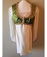 Vintage 1970s Ivory Olive Green Gold Vest Sheer Sleeves Mini Dress size ... - $24.95