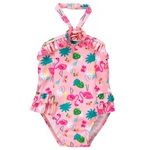 NWT Gymboree Flamingo Girls Pink Ruffle One Piece Swimsuit Bathing Suit ... - $12.99