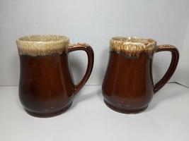 Roseville R.R.P. CO USA Brown Drip Stein, Coffee Mugs Set of 2  - $18.99