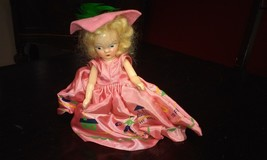 "Vintage  VIRGA- 1950's Doll Pink Dress green Feather Jack and Jill 5.5"" - $58.46"