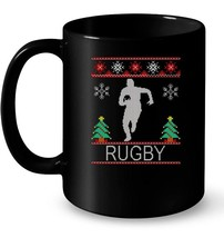 rugby Christmas Ceramic Mug ugly - $13.99+