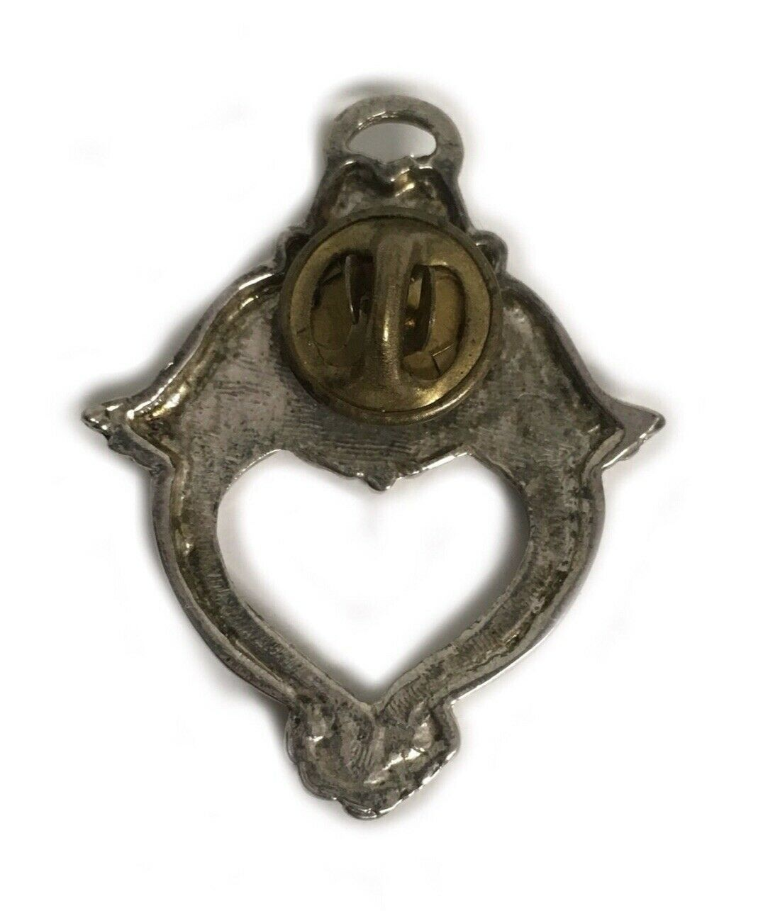 Vintage Costume Jewelry Brooch Pin  Brushed Silver Colored Angel Heart