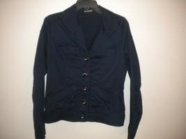 Express Size Medium Navy Button Front Women Jacket Blazer - $18.81
