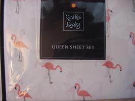 Cynthia Rowley Pink Flamingos on White Microfiber Sheet Set Queen - $59.00