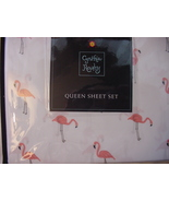Cynthia Rowley Pink Flamingos on White Microfiber Sheet Set Queen - $59.00