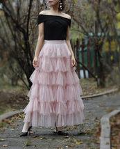 Pink Layered Tulle Midi Skirt High Waisted Layered Tulle Ruffle Skirt Custom image 1