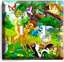 Bambi Thumper Bunny Skunk Double Light Switch Wall Plate Baby Nursery Room Decor - $10.79