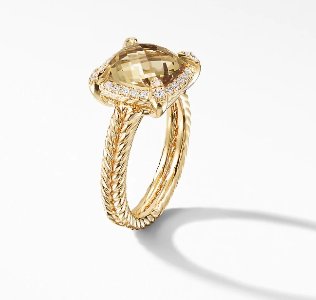David Yurman Chatelaine Pave Bezel Ring With Champagne Citrine,9mm