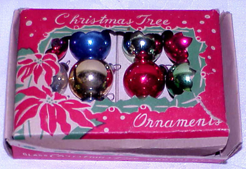 "Primary image for Vintage 3/4"" Mini Glass Christmas Ornaments IOB Japan # 8"