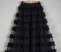 Black Tulle Midi Skirt Outfit Women Full Midi Tulle Skirt High Waisted Plus Size image 2